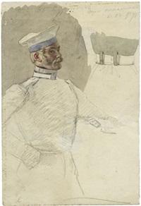 bildnis eines stehenden kürassiers (+ offizier in weißer uniform mit seinen abzeichen, signed; verso) (sketches) by david könig