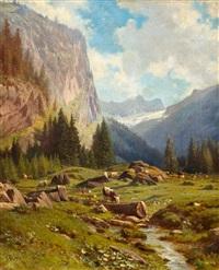 idyllischer bergbach mit kühen by johann-joseph geisser