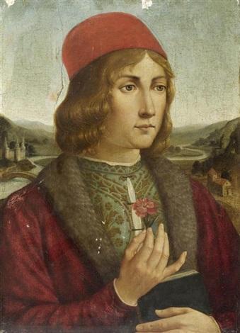 portrait eines jungen mannes mit nelke by domenico ghirlandaio