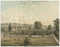 landschaft mit blick auf ein dorf umgeben von wiesen und feldern by heinrich füssli the younger