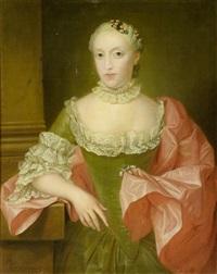 bildnis einer edlen dame mit einer saphir-perlen-brosche by jean fournier