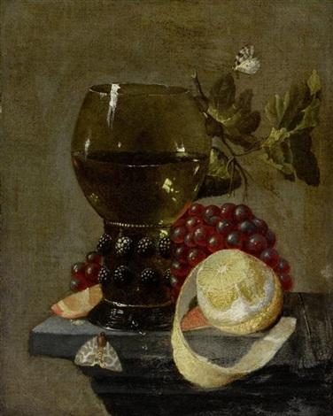 stilleben mit trauben römer und zitrone auf einer steinplinthe by cornelis de heem