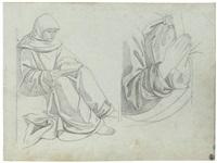 sitzender mönch beim studium einer schrift (+ begegnung des papstes mit einem orientalen; 2 works) by gustav heinrich naeke
