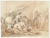 rinaldo und armida werden überrascht (+ flanierendes paar mit sonnenschirm, verso) by bernhard (christian bernhard) rode