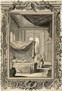 alter kniend im gebet vor einem verstorbenen by johann melchior füssli