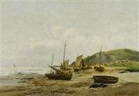 fischerboote an der küste by r. simoni