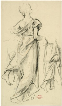 frau in langem kleid (+ 2 others; 3 works) by henri léopold lévy