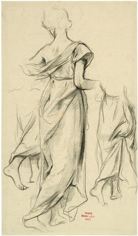 frau in langem kleid (+ 2 others; 3 works) by henri léopold lévy