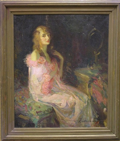 woman in a pink robe by walter g ratterman