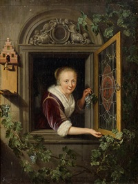 dame am fenster by gerrit dou