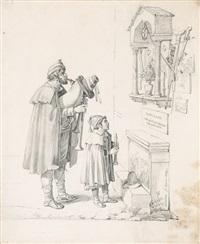 zwei pifferari vor einem bildstock der maria by dietrich wilhelm lindau