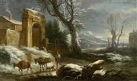winterlandschaft mit reisenden und eseln by francesco foschi