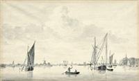 flusslandschaft mit segelschiffen by ary van wanum