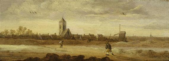 holländische landschaft (+ holländische küstenszene; pair) by jan josefsz van goyen