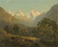 vier berglandschaften (4 works) by h. fischer