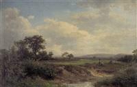 sommerliche landschaft mit einem bachlauf by august weber