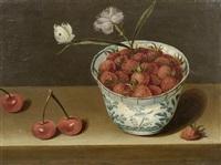 stilleben mit erdbeeren in delfter schale, kirschen und einem schmetterling by jacob van hulsdonck