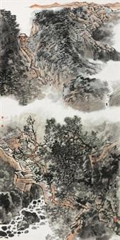 东岳步云 镜心 设色纸本 by zhang fuxing