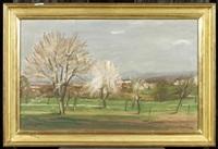 landschaft mit blühenden kirschbäumen by ernest bolens