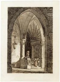 blick in ein neugotisches kirchportal, auf den treppenstufen ein galantes paar by antonio de pian