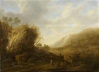 bergige landschaft mit wanderern by françois van knibbergen