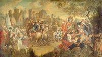 historische szene vor einer stadt by g.a. greising