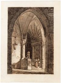 blick auf ein neugotisches kirchenportal, auf den treppenstufen ein galantes paar by antonio de pian