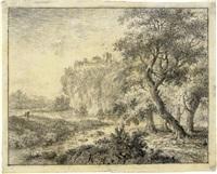 waldige landschaft mit blick auf eine bergfestung by johann caspar huber
