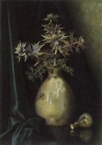 stilleben mit distel in einer vase by bernardus arps