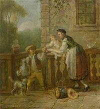 galante szene auf dem balkon by sigmund freudenberger