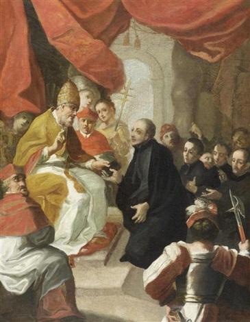 ignatius von loyola und seine gefolgschaft bei dem treffen mit papst paul iii by luca giordano