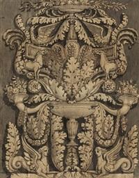 entwurf zu einem reich geschmückten kandelaber mit blumengirlanden und fabelwesen by giocondo albertolli