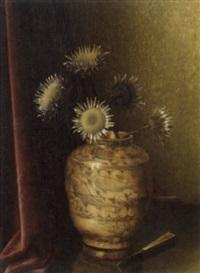 stilleben mit sonnenblumen in grosser vase by bernardus arps