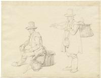zwei römischen bauernfiguren, stehend und sitzend, mit weidenkorb und krug by gustav heinrich naeke