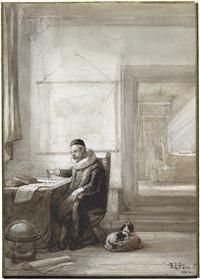 ein gelehrter in tracht des 17. jahrhunderts in seinem studiengemach by hubertus van hove