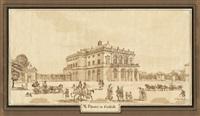 das alte schloss in stuttgart; das königliche theater in bad cannstadt (2 works) by theodor rausche