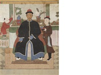 a portrait of an official with an attendant and a boy by anonymous-chinese (qing dynasty)