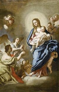 madonna mit kind und betenden engeln by ludovico mazzanti