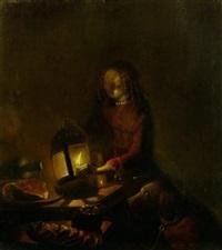 junge frau mit hund beim kerzenlicht by jan hendrik van grootvelt