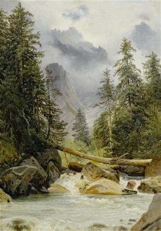 gebirgsbach by alexandre calame