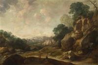 traveller in a broad rocky landscape by gysbert gillisz de hondecoeter
