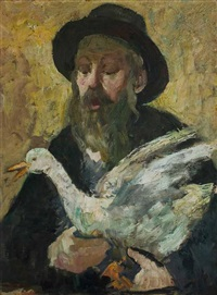 figures of a jewish man with a goose by zvi adler