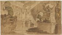 architekturcapriccio mit der statue eines atlas und einer herme (+ zwei trauernde an einem grabmal, verso) by alessandro sanquirico