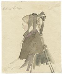 ein jungen frau in ländlicher tracht (study) (+ frauen (sketch); verso) by august lucas