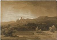 campagna-landschaft mit einer befestigten stadt auf einem bergrücken by johann wilhelm schirmer