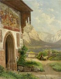 berglandschaft mit einer kapelle im vordergrund by karl franz emanuel haunold