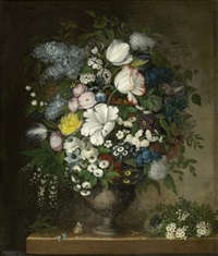 stilleben mit tulpen, flieder und pfingstrose in einer urne mit vögeln und schmetterling by charity mansell