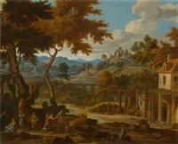 weinernte in italienischer landschaft by johannes (jan) glauber