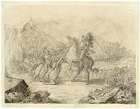 reiterduell zwischen zwei rittern zu pferd by julius schnorr von carolsfeld