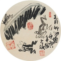 青草池塘 镜心 水墨纸本 by jiang guohua
